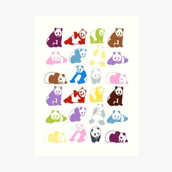 Colourful pandas Art Print