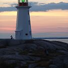 Lighthouse and Afterglow by Jann Ashworth