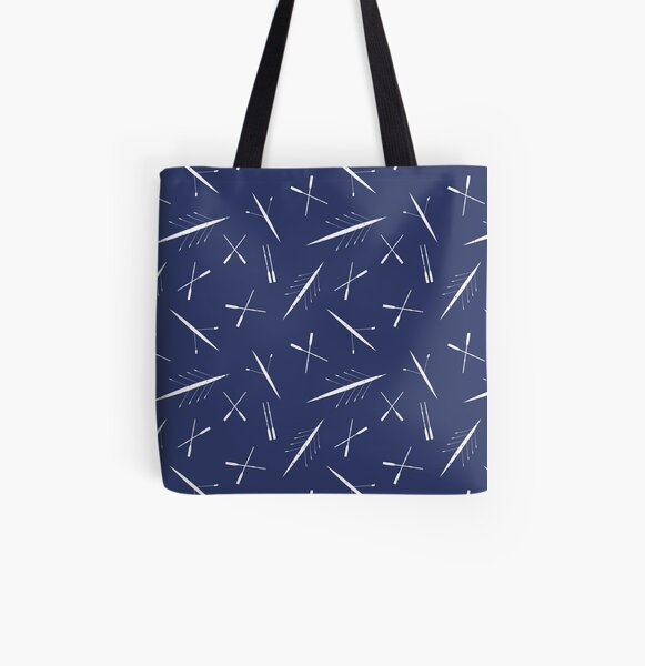 Rowing Club Navy Blue and White Scull Pattern All Over Print Tote Bag
