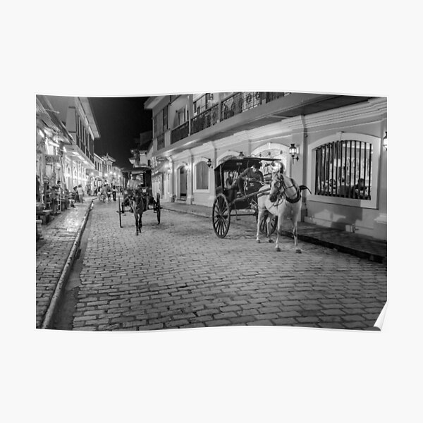 Vigan City, Philippines (black and white) Poster