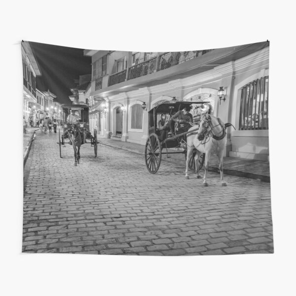Vigan City, Philippines (black and white) Tapestry