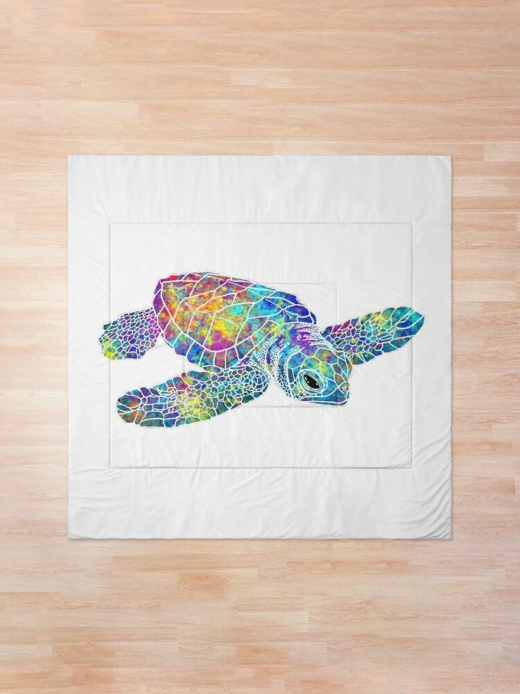 Alternate view of Sea Turtle Watercolor Art Comforter