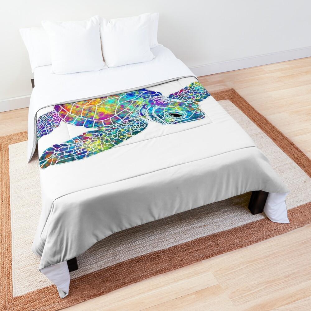 Sea Turtle Watercolor Art Comforter