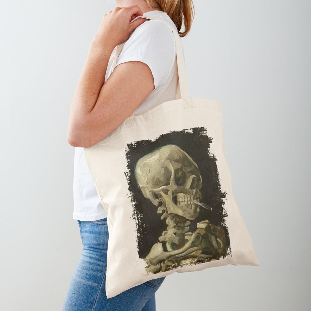 Skull Of A Skeleton With A Burning Cigarette - Vincent Van Gogh Tote Bag