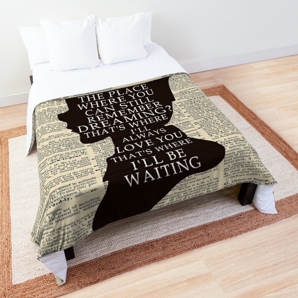 Peter Pan Over Vintage Dictionary Page - That Place Comforter