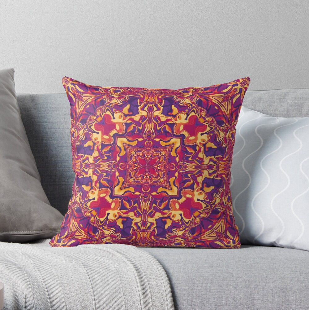 Liquefied Flow III - Red Grape Throw Pillow