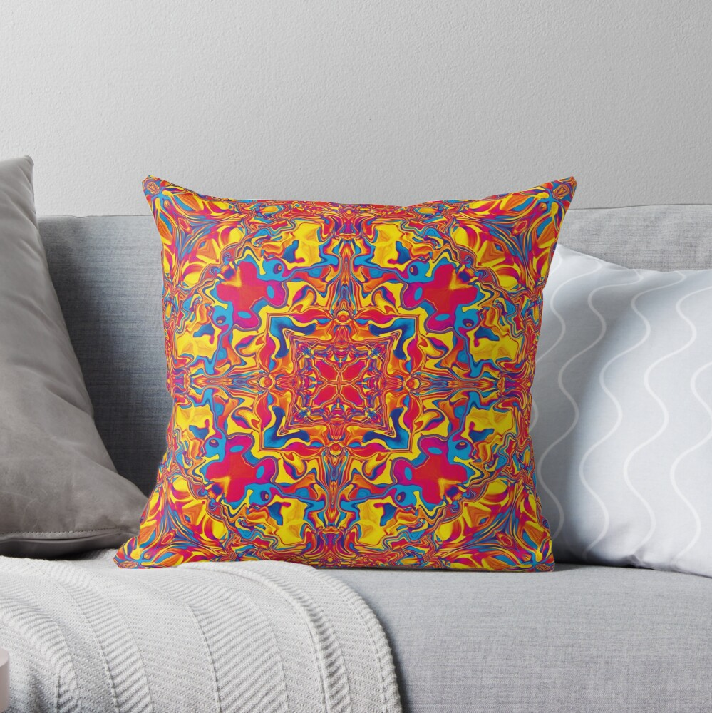Liquefied Flow III - RYB Throw Pillow