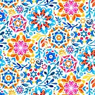 Watercolor Kaleidoscope Floral - brights by micklyn