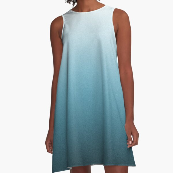 Silver Gray and Ocean Blue Ombre A-Line Dress
