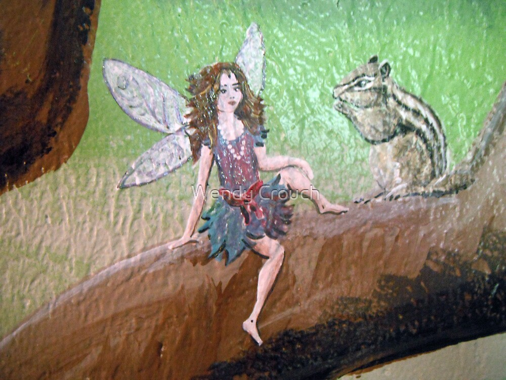 Faerie and a Chipmunk in a tree for a chat by Wendy Crouch