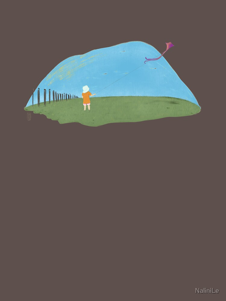 A girl flying a kite naive illustration by NaliniLe