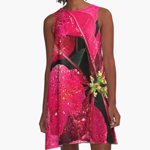 Red Poinsettia Leaves With Christmas (Faux) Sparkles Photo A-Line Dress