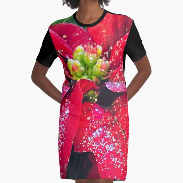 Holiday Red Christmas and Hanukkah Sparkly Poinsettia Photo Graphic T-Shirt Dress