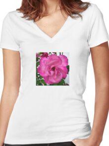Flower | Pink Dot Rose Women's Fitted V-Neck T-Shirt
