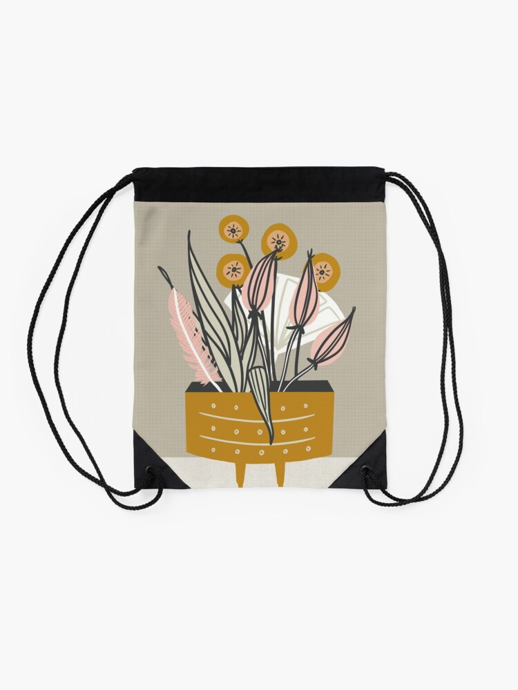 Alternate view of Mid Century gold pottery with plants Drawstring Bag