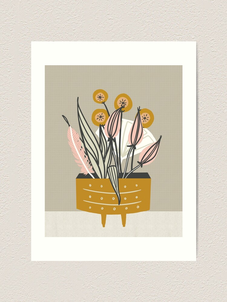 Alternate view of Mid Century gold pottery with plants Art Print
