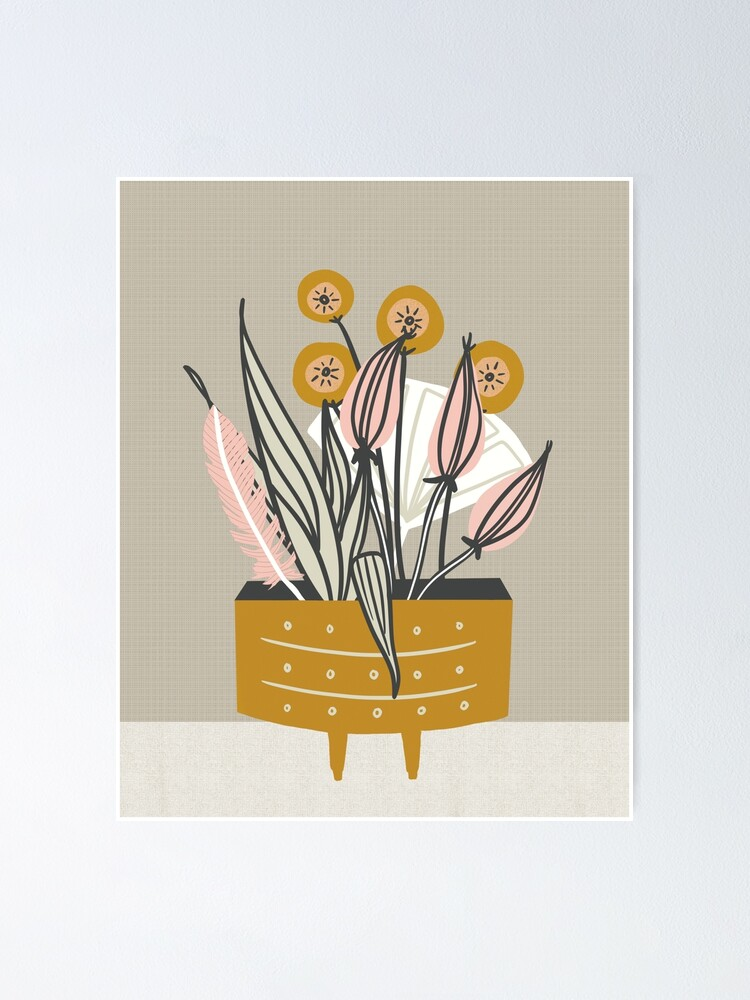 Alternate view of Mid Century gold pottery with plants Poster