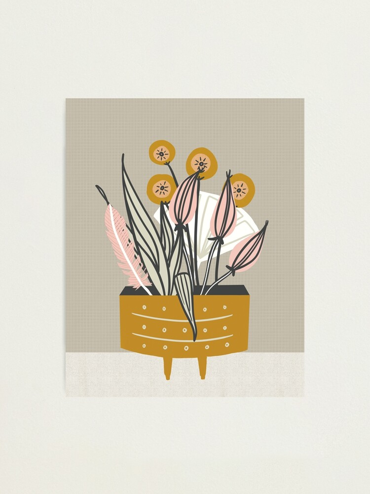 Alternate view of Mid Century gold pottery with plants Photographic Print