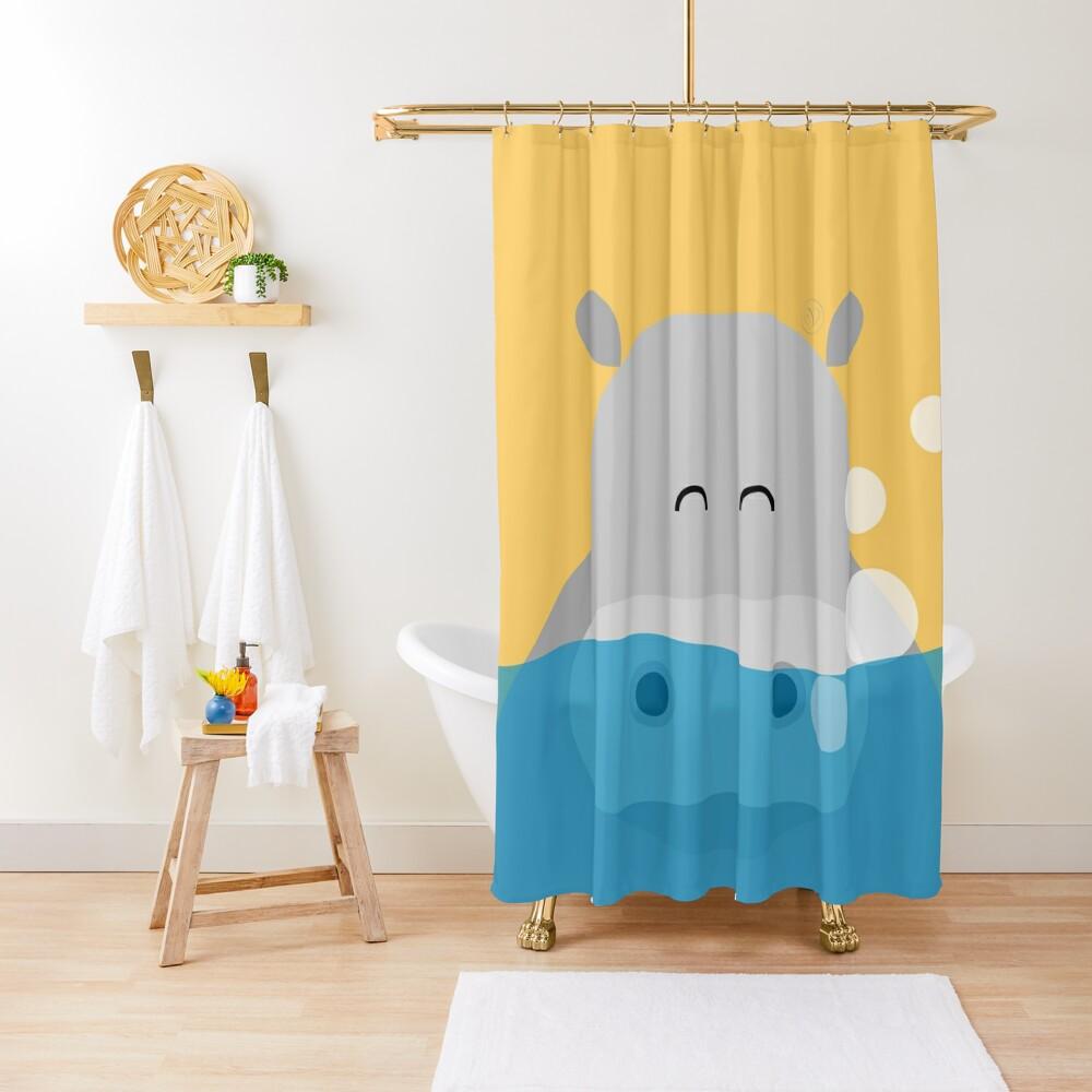 Nilpferd, geometrisch & minimalistisch Duschvorhang