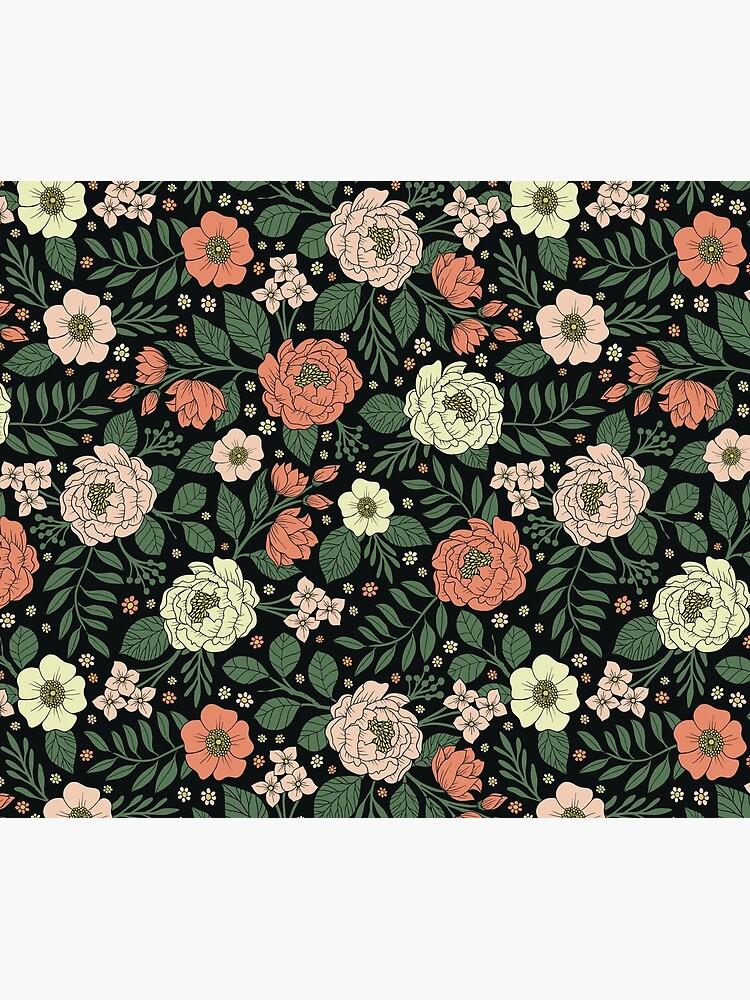 Peach, Green & Coral Floral Pattern by somecallmebeth