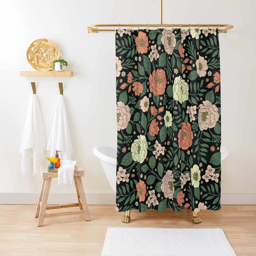 Peach, Green & Coral Floral Pattern Shower Curtain