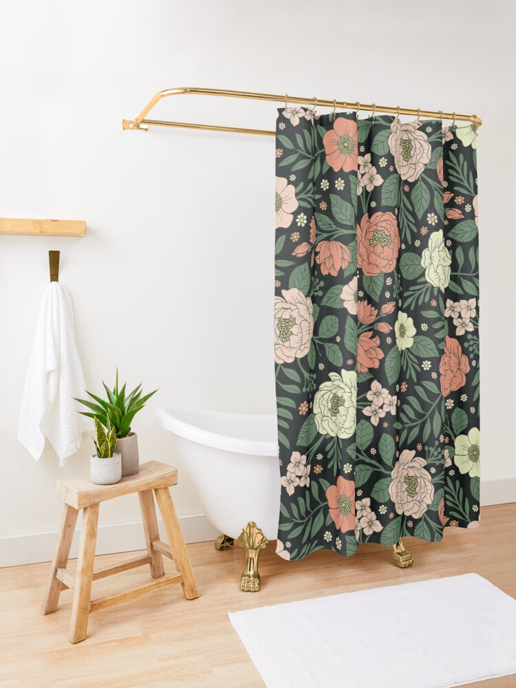 Alternate view of Peach, Green & Coral Floral Pattern Shower Curtain