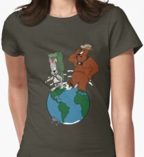 Bear and Rabbit go globetrotting Womens Fitted T-Shirt