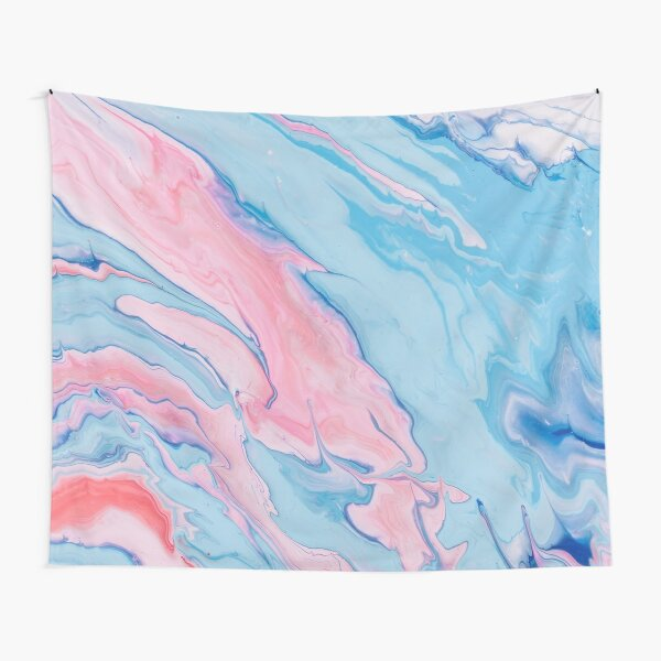 light blue pink and white psychedelic abstract paint pour Tapestry
