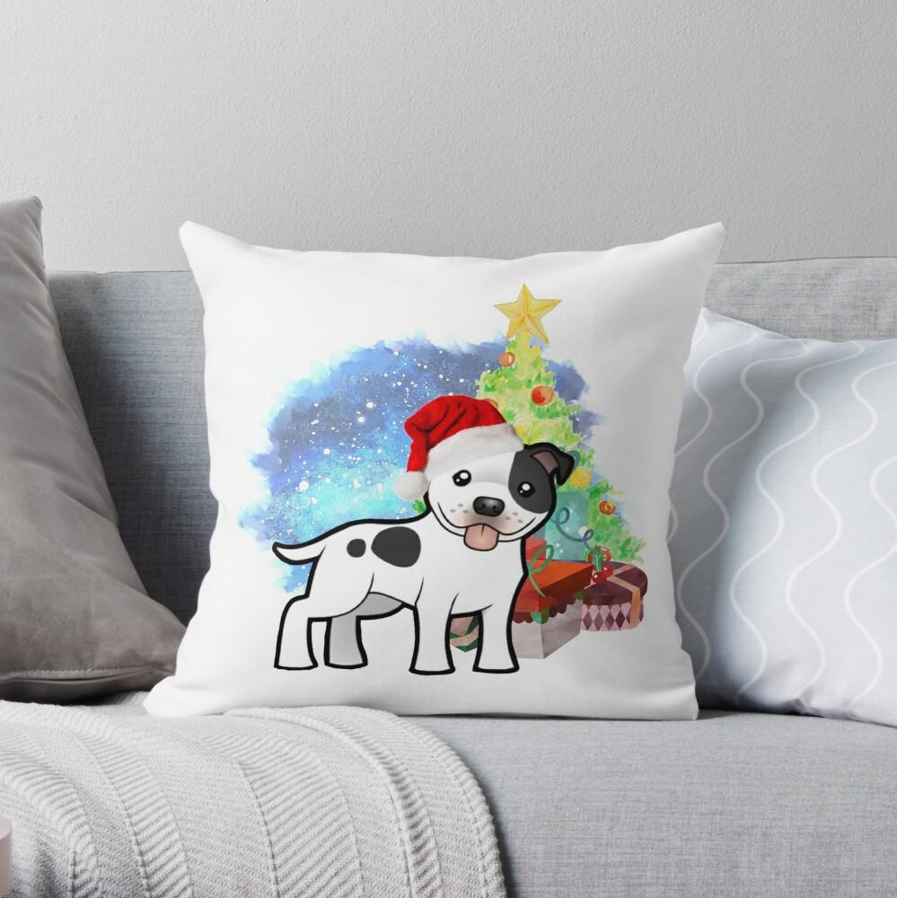 A Staffy Christmas Throw Pillow
