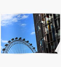 London eye and coloured building Poster