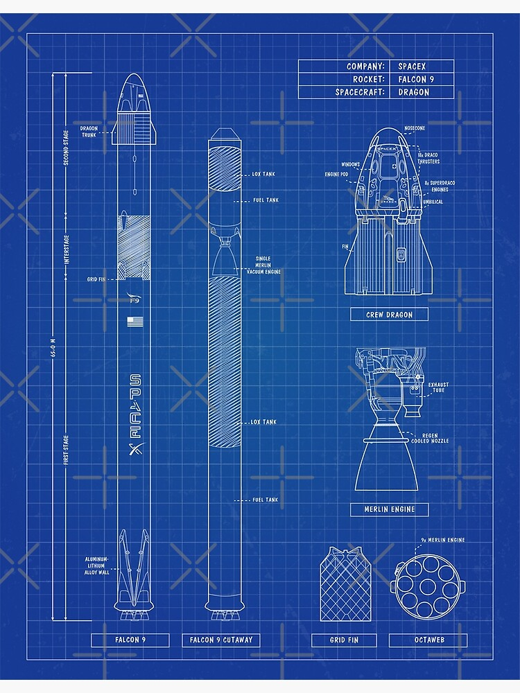 SpaceX: Falcon 9 & Dragon (Blueprint - English) Vertical Version by BGALAXY