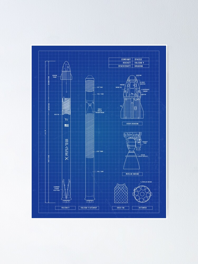 Alternate view of SpaceX: Falcon 9 & Dragon (Blueprint - English) Vertical Version Poster