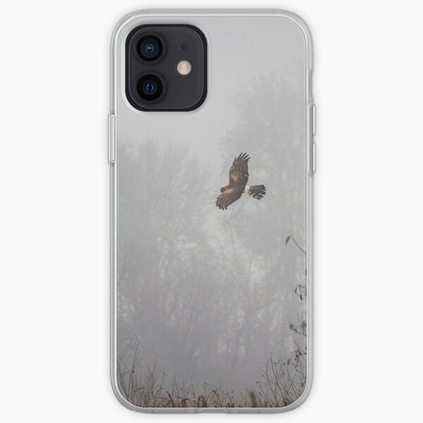 Northern Harrier Hunting in Morning Fog iPhone Soft Case