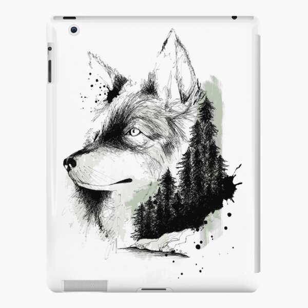 Illustration Loup Coque rigide iPad