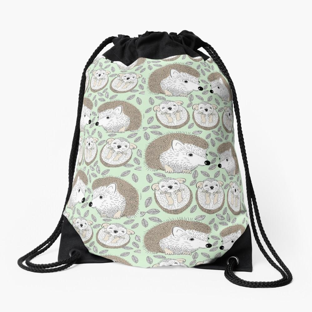 A Family of Hedgehogs Drawstring Bag