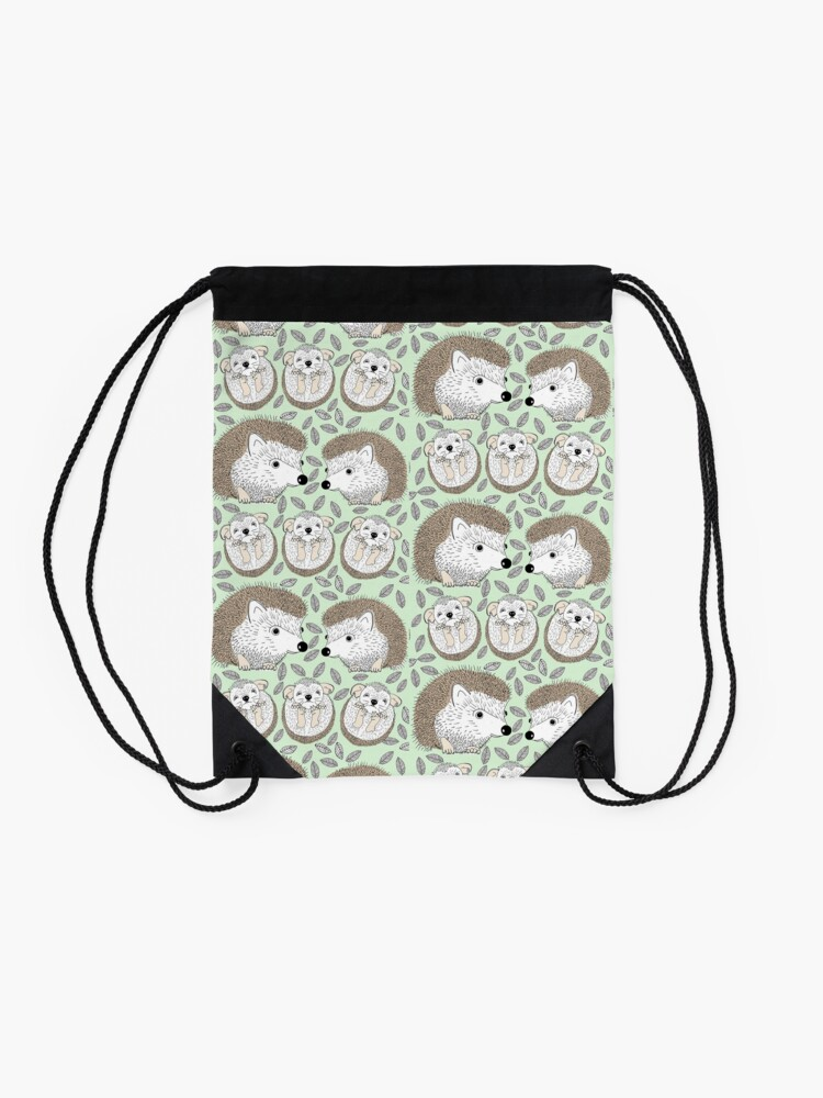 Alternate view of A Family of Hedgehogs Drawstring Bag