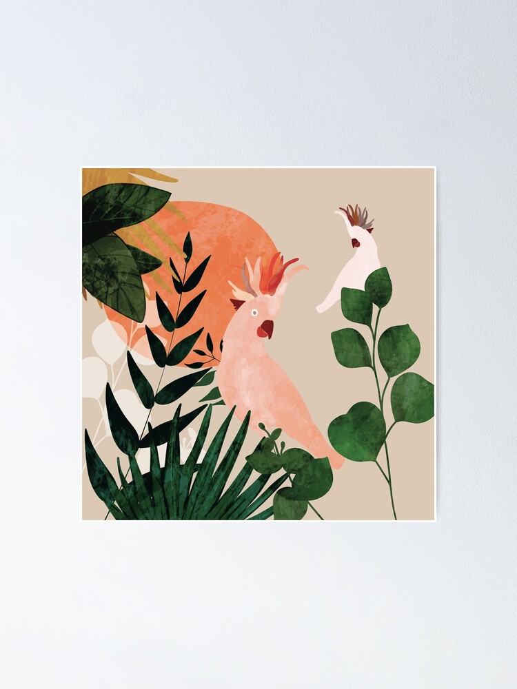 Alternate view of Cockatoo jungle modern Poster