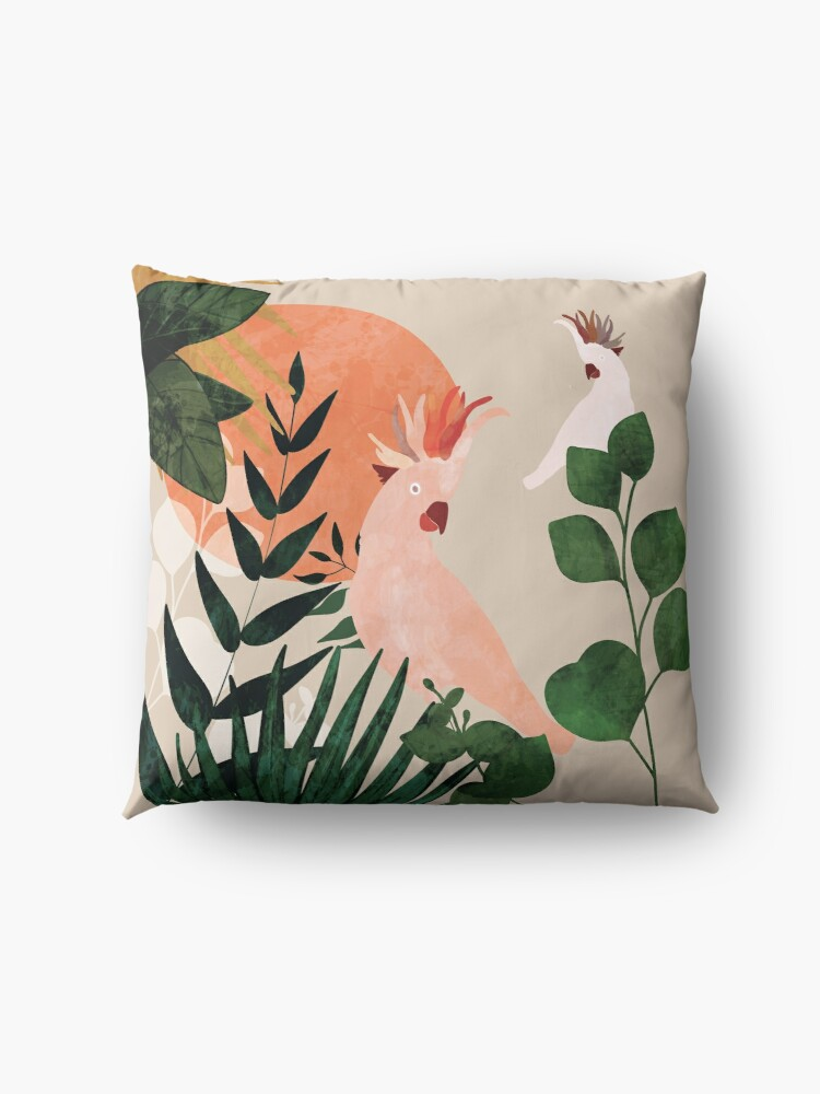 Alternate view of Cockatoo jungle modern Floor Pillow