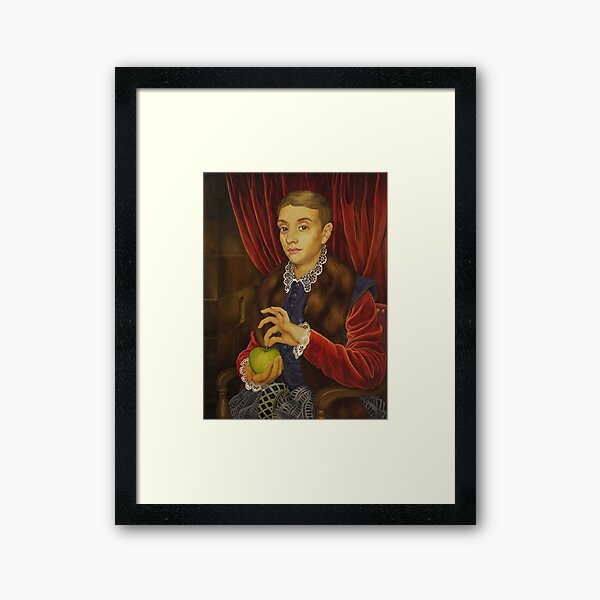 Boy With Apple Framed Art Print