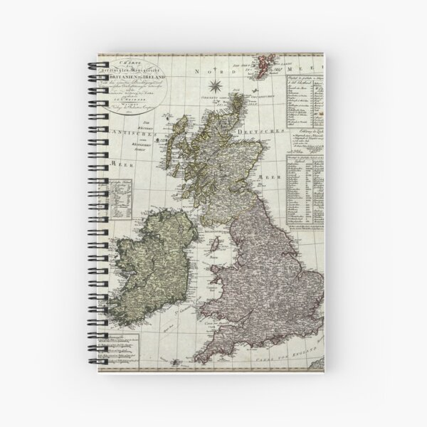 Antique Map of the British Isles Spiral Notebook