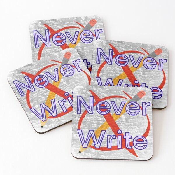 Never Write Coasters (Set of 4)