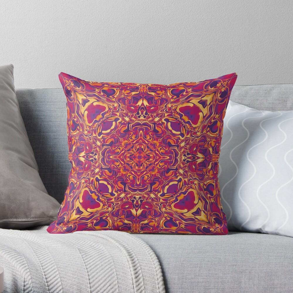Liquefied Flow IV - Red Grape Throw Pillow