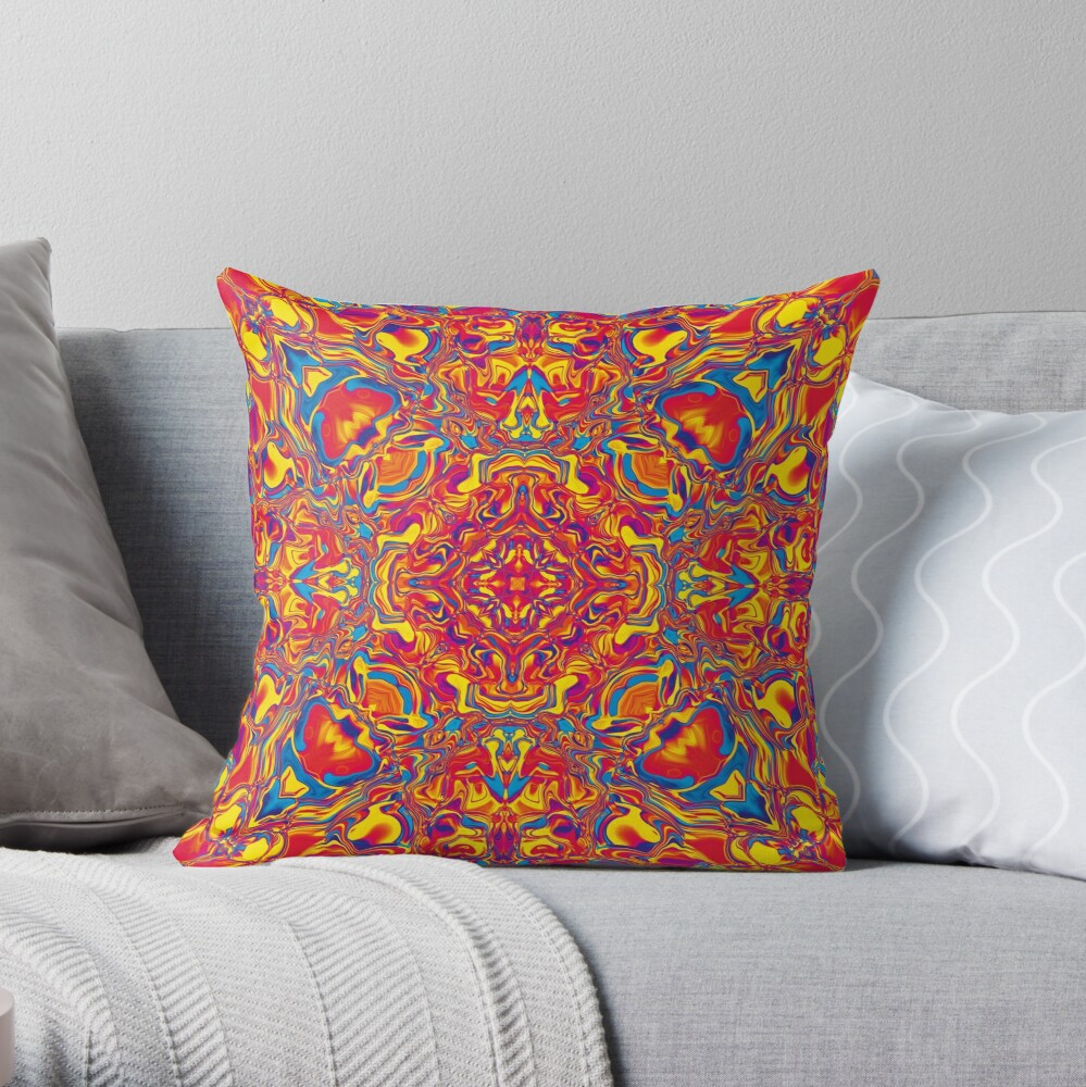 Liquefied Flow IV - RYB Throw Pillow