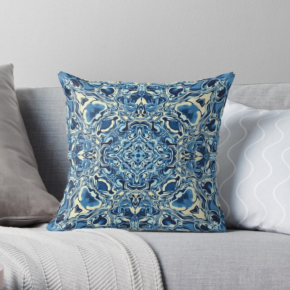 Liquefied Flow IV - Blue Cream Throw Pillow
