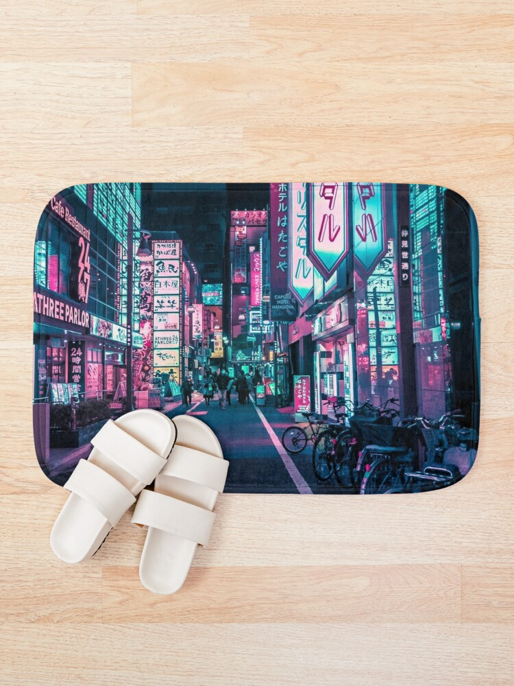 Alternate view of Tokyo - A Neon Wonderland  Bath Mat