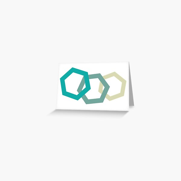 Cold Paper Tri Green Hex Landscape Greeting Card