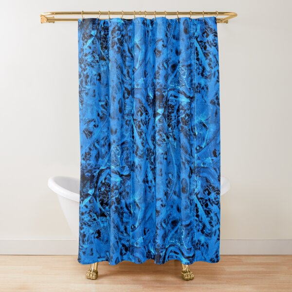Abstract Blue Ice Frozen Water Shapes Circles Chaos by Cara Schingeck Shower Curtain