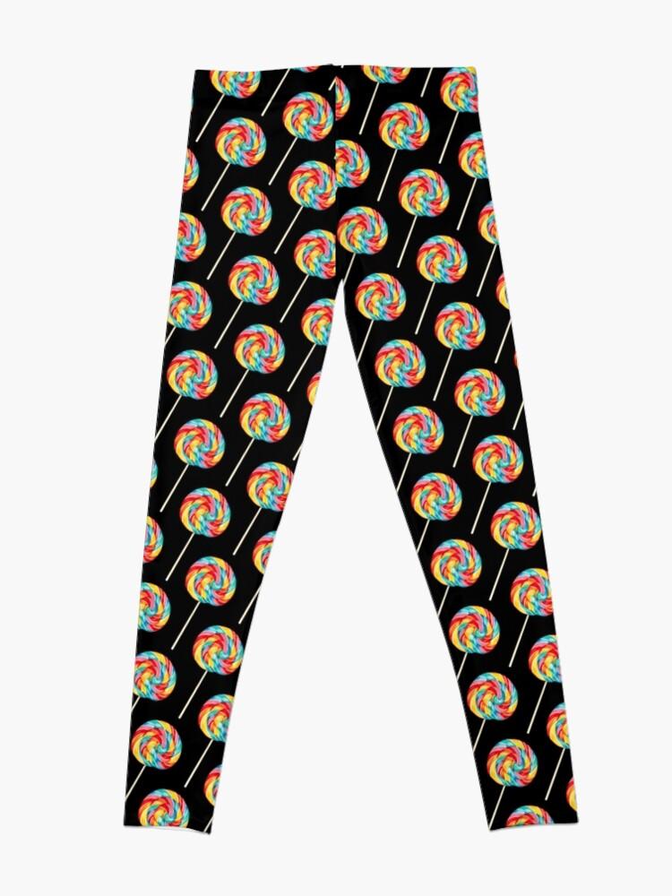 Alternate view of Rainbow Lollipop Pattern - Black Leggings