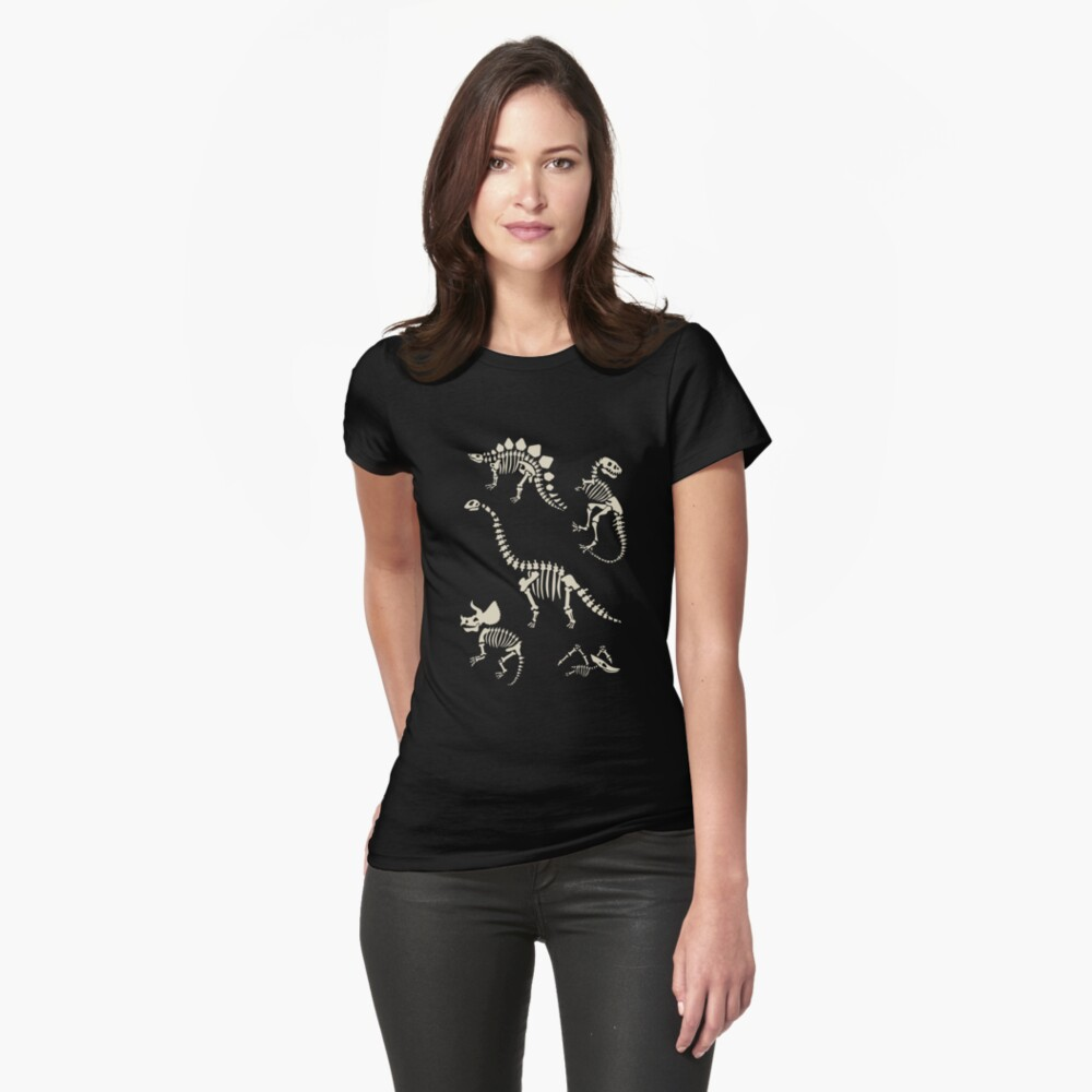 Dinosaur Fossils in Black Fitted T-Shirt