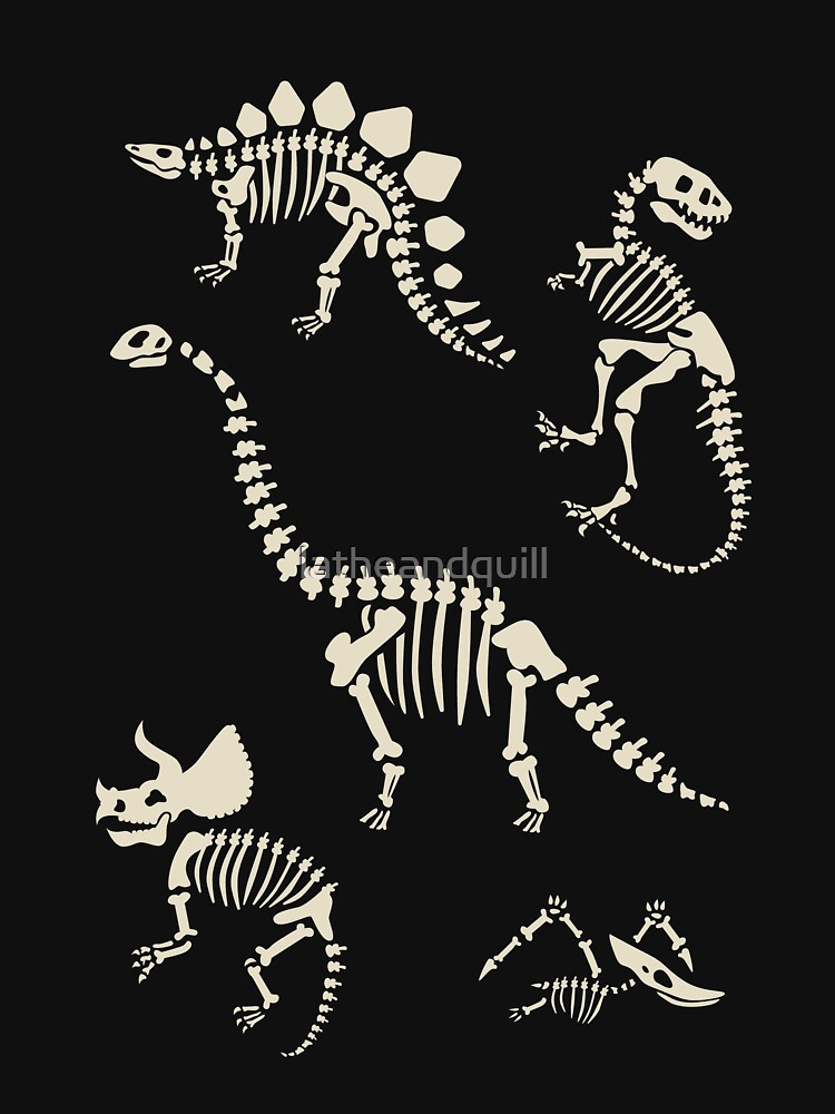 Dinosaur Fossils in Black by latheandquill